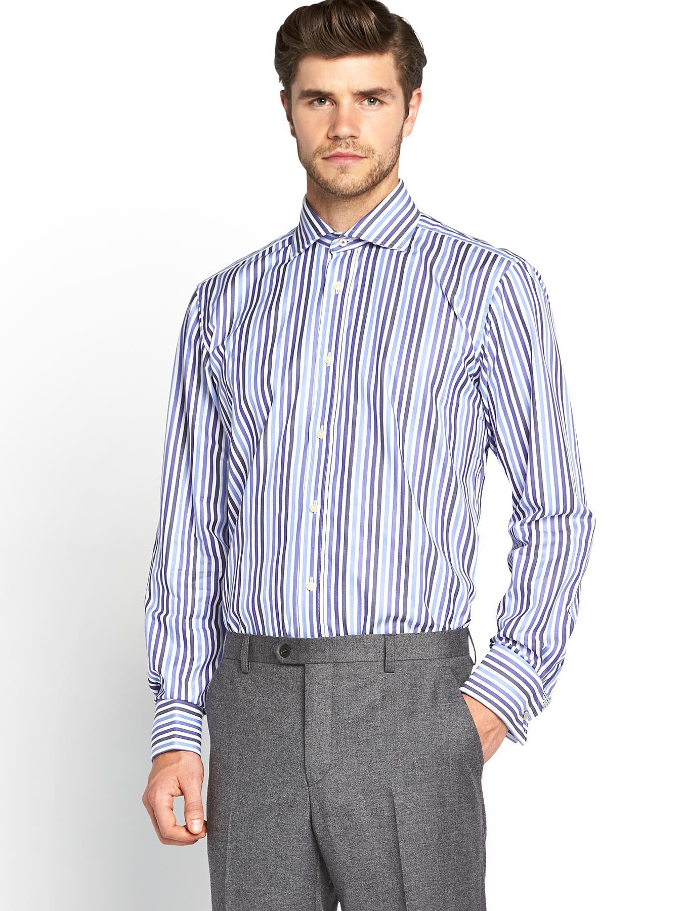 Mens Striped Long Sleeved Shirt, Blue