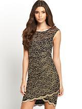 Metallic Scallop Hem Dress