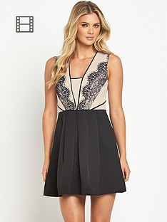 oasis-lace-trim-structured-skater-dress