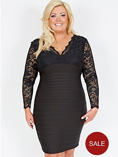 gemma-collins-lace-and-bandage-dress