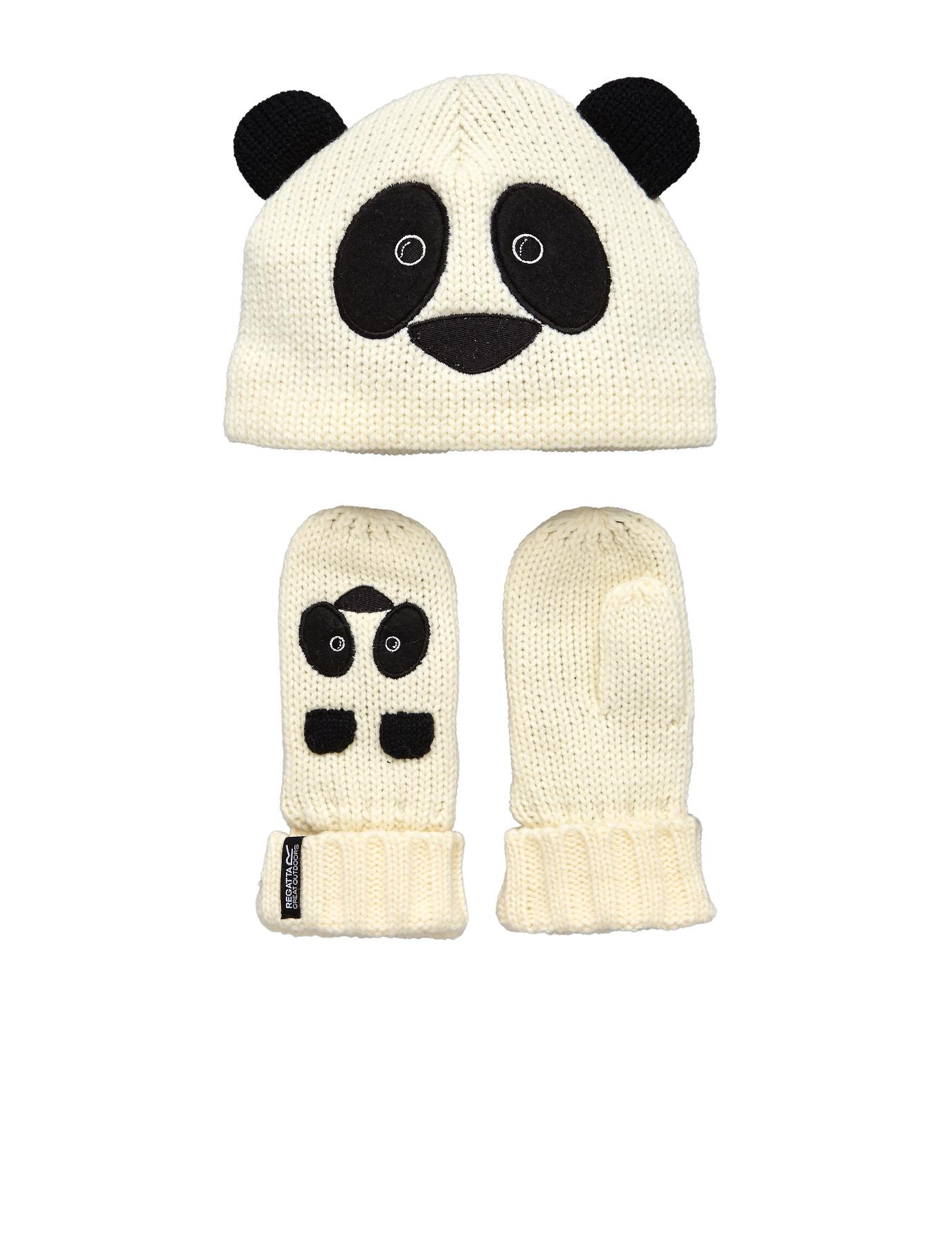 Little Kids Panda Hat/Glove Set, Black