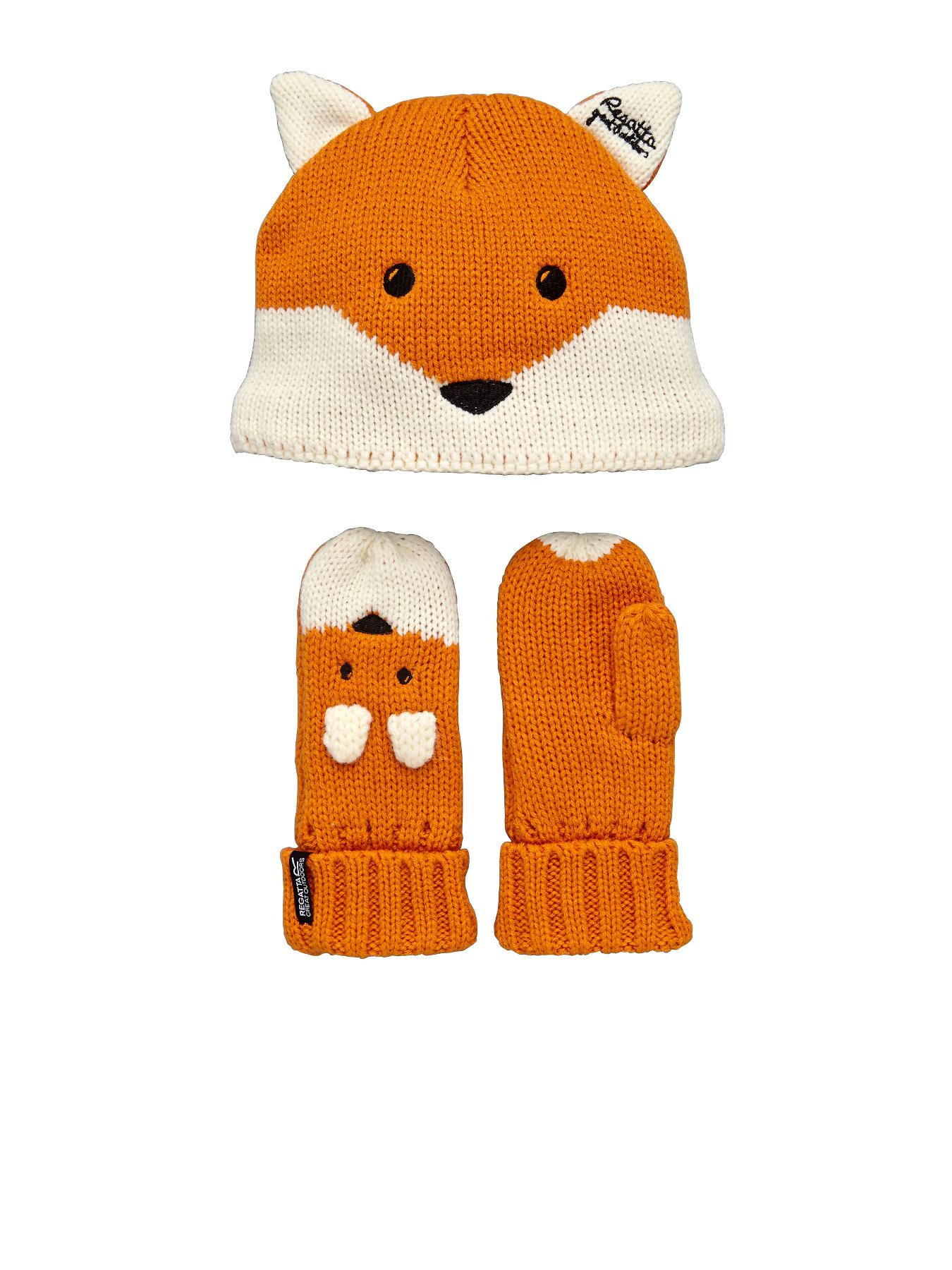 Little Kids Fox Hat/Glove Set, Orange
