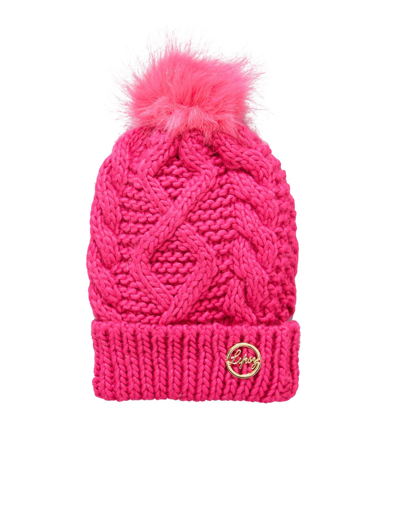 Cable Knit Bobble Beanie, Pink at Littlewoods