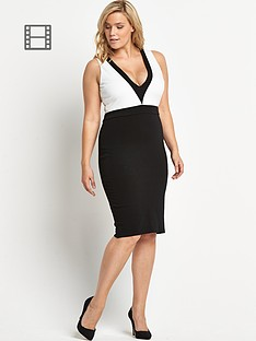 ax-paris-curve-monochrome-v-neck-dress