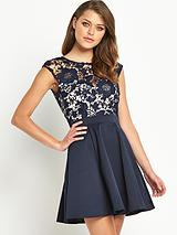 2-in-1 Lace Skater Dress