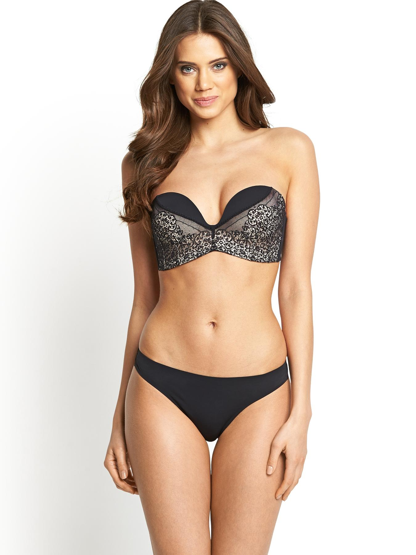 Ultimates Strapless Thong, Black,Ivory at Littlewoods