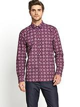 Mens Long Sleeve Geo Print Shirt