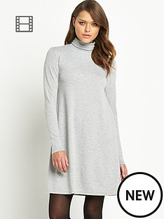 vila-vivang-polo-neck-jersey-dress-grey