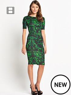 ax-paris-damask-print-midi-dress