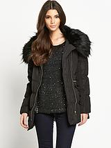Belted Padded Jacket with Faux Fur Trim