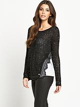 Sequin and Chiffon Back Jumper