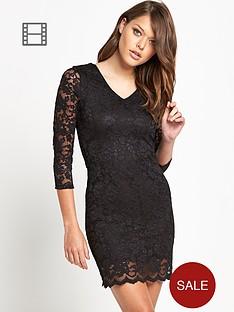 denim-supply-ralph-lauren-v-neck-lace-bodycon-dress