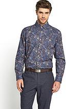 Mens Long Sleeve Floral Print Shirt