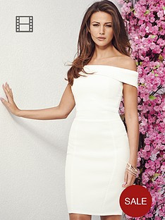lipsy-michelle-keegan-textured-bardot-dress