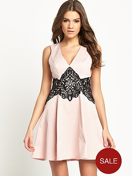 lipsy-crochet-lace-waist-skater-dress