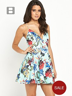 ax-paris-tropical-floral-strappy-skater-dress