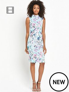 definitions-printed-high-neck-sleeveless-dress