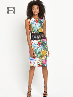 definitions-lace-insert-printed-dress