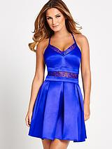 Lace Insert Satin Scuba Dress