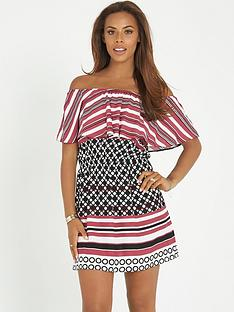 rochelle-humes-off-the-shoulder-printed-dress
