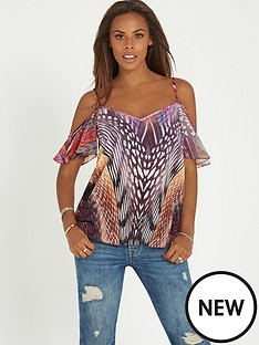 rochelle-humes-cold-shoulder-printed-top