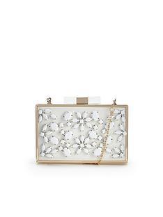flower-embellished-hard-box-clutch-bag
