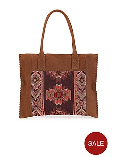 suede-embellished-panel-tote-bag