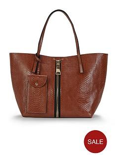 snake-embossed-zip-detail-tote-bag