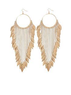 leaf-detail-chain-drop-earrings