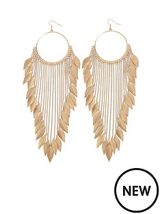 leaf-detail-chain-drop-earrings