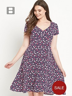 so-fabulous-star-print-v-neck-tea-dress