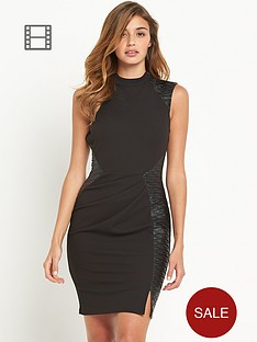 lipsy-pu-panel-shift-dress