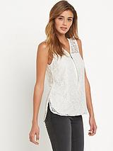 Wax Sleeveless Lace Zip Front Blouse