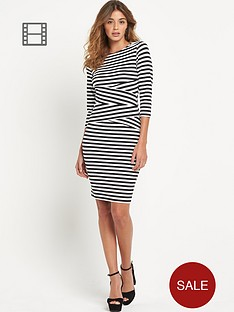 lipsy-three-quarter-sleeve-stripe-dress