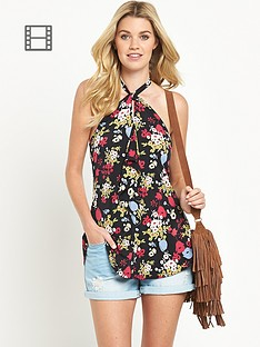 south-retro-print-keyhole-halter-neck-cami-top