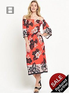south-petite-tropical-bardot-midi-dress