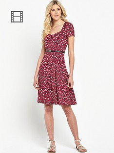 south-animal-print-sweetheart-neck-tea-dress