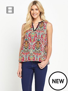 south-v-neck-boho-print-sleeveless-blouse