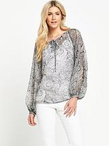 Printed Split Sleeved Blouse