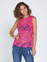 Unlined Crochet Sleeveless Blouse