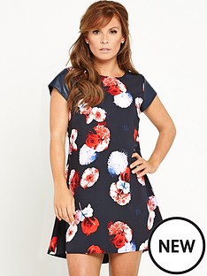 coleen-printed-dress-with-pu-sleeves