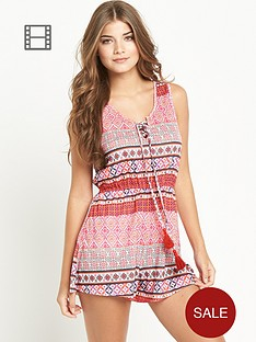 resort-tribal-print-tassel-playsuit