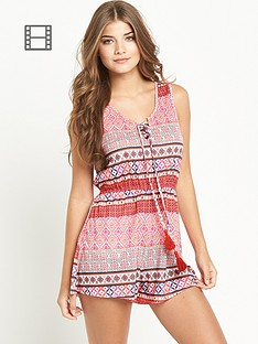 resort-tribal-print-tassle-playsuit