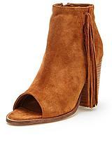Yasmin Suede Peep Toe Boots - Tan
