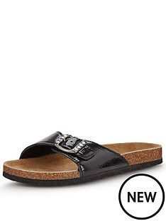 shoe-box-kathy-footbed-flat-buckle-front-sandals-black-patent