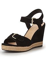 Petal Buckle Front Mid Cork Wedges - Black