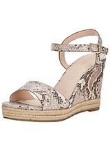 Patty Espadrille Snake Detail Mid Wedges - Natural