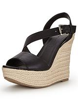 Piper Asymmetric Espadrille Platform Wedges - Black