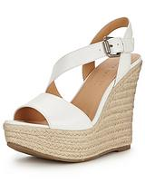 Piper Asymmetric Espadrille Platform Wedges - White