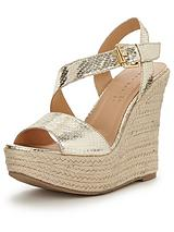 Piper Asymmetric Espadrille Platform Wedges - Gold